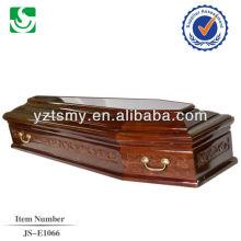 venda direta Europeu estilo mogno madeira adulto caixão feito em China