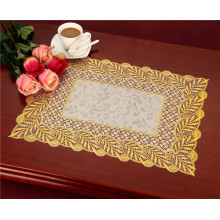 Tamaño 38 * 55cm del Tablemat del oro del cordón del PVC impermeable