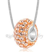 Großhandelspfirsich-Farben-Rhinestone-Legierungs-großes Loch-Distanzscheiben-Korn-europäischer Kristall bördelt Armband DIY