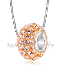 Comercio al por mayor Melocotón Color Rhinestone aleación Big Hole Spacer Beads Europea Crystal Bead Pulsera DIY