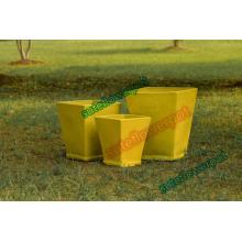 Vaso de flores de bonsai quadrado amarelo
