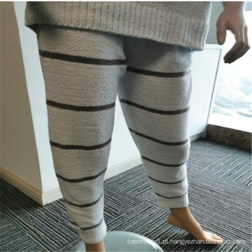 Calças compridas de pijama interior de flanela feminina com estampado listrado