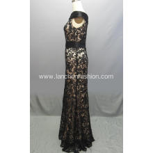 Sleeve Black Lace Dress A-line Prom Dress