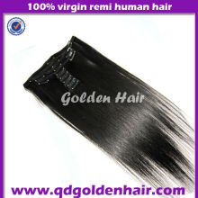 Golden Hair High Quality 100% Human Hair Clip in hair Extension