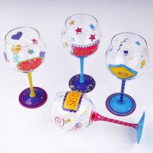 Handgemalte Glas Stielglas Weinglas