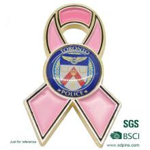 Pin personalizado de la solapa de la cinta del rosa del cáncer del esmalte del metal