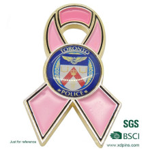 Custom Metal Enamel Cancer Pink Ribbon Lapel Pin