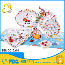 superior quality plastic X-Mas tableware melamine party set