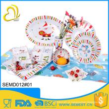 conjunto de festa de melamina de mesa de plástico de qualidade superior X-Mas