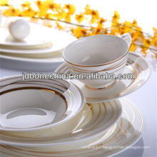 christmas 2014 new design golden porcelain flower gold line stylish royal fine bone china cutlery set