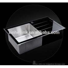 Fregadero de cocina de vidrio templado de acero inoxidable Fregadero de cocina de vidrio templado de acero inoxidable templado de un solo tazón (ZB20)