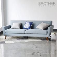 Tecido de mobiliário moderno sala de estar tufado sofá de madeira 3 lugares