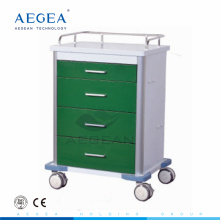AG-GS003 With four drawers dark green series power coating metal frame clinic medical steel cart