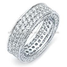 Silver Cubic Zirconia Ring Bijoux à 3 rangées de fiançailles Eternity Band Ring vners Fabricant