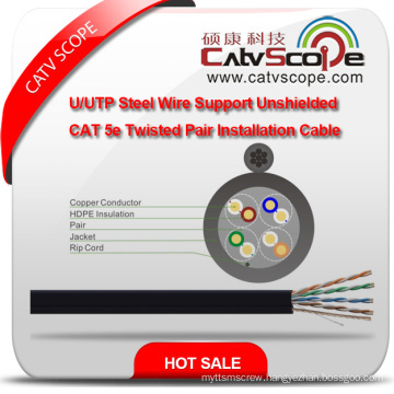 High Quality Structure Cabling LAN Cable U/UTP Steel Wire Support Unshielded Cat 5e Twisted Pair Installation Cable