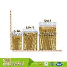 Sello autoadhesivo fuerte Embalaje expreso metálico brillante de la burbuja de aire Bolso personalizado del correo del oro