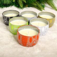Velas de estaño con aroma a cera natural de soja
