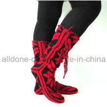 Fashionable New Design Comfy Soft Hand Knit Knee High Slipper Socks