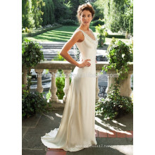 NA1015 Beautiful Sheath Scoop Sweep Train Beading Champagne Satin Wedding Dress