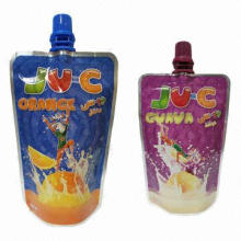 Fruit juice pouch with nozzle and bottom gusset for pasteurization and hot filling