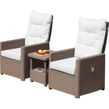 Novo estilo sofá reclinável conjunto de vime ao ar livre