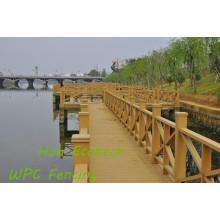 Сада WPC этаж PE составная деревянная ограда Приречной перил WPC