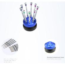 Destornillador profesional conjunto óptico con destornilladores 9pcs + asiento de aluminio