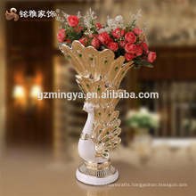 Artificial resin peacock with pearl craft for decoration,flower basket flower peacock resin craft for sale