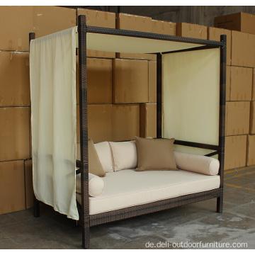 rattan outdoor lounge garten bett mit baldachin. Black Bedroom Furniture Sets. Home Design Ideas