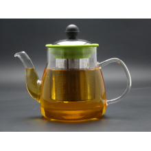 800ml Hand Made Borosilicate Glass 3.3 Teapot with Steel Lid and Infuser