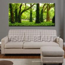 Venta al por mayor Verde Bosque Impresión en lienzo de lona