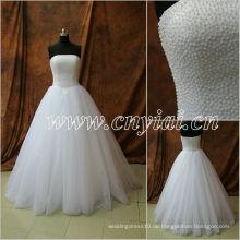 JJ2883 Perlen Ärmelloses Ballkleid Volles bördelndes Fußbodenlänge Hochzeitskleid 2013