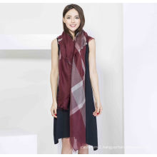100%Cashmere Fashion Yarn Dye Plaid Square Scarf Ring Cashmere Plaid Square Shawl Worsted Fashion Shawl
