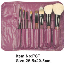 8pcs Burgundy plastic handle animal/nylon hair makeup brush tool set with purple PU case