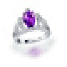 À La Main 1.80CT Poire Cut Naturel Violet Améthyste Couronne Anneaux 925 Sterling Argent pour Femmes Engagement Fine Jewelry