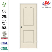 28 in. x 80 in. Smooth 2-Panel Eyebrow Top Primed Molded Single Prehung Interior Door