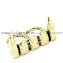 Two-Finger Alloy Antique Plated Punk Style Jewelry Ring (XRG12124)