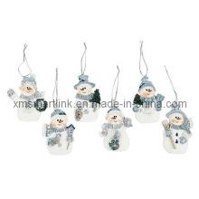 Ornamento colgante del muñeco de nieve de Polyresin, decoración de Navidad