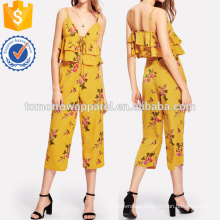 Floral Tiered Hem Top & Pants Set Manufacture Wholesale Fashion Women Apparel (TA4037SS)