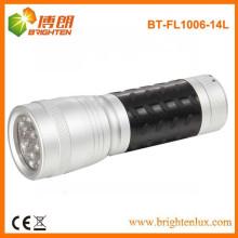 Fábrica de suministro OEM de aluminio 14 llevó linterna de bolsillo, pequeña linterna led con goma de agarre
