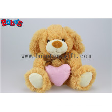 Brown Puppy Stuffed Animal Toy with Pink Heart Pillow Bos1152
