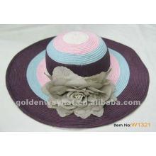 Ladies floppy paper straw hat with flower decoration