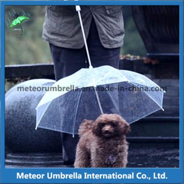 Promoção Gift Certificated Straight Auto Open Transparente PVC Claro Pet Dog chuva guarda-chuva fantasia itens