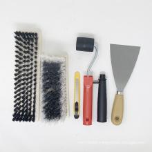Wooden Handle Scraper Softfiber Paint Brush Tool Kit Set 6PK