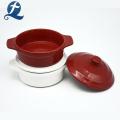 Color Glazed Round Ceramic Casserole