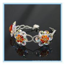 Moda genuína austríaco cristal jóia artesanal cristal grânulos pulseira de titânio germânio pulseira