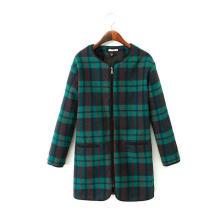 OEM Fashion Clothing Front Zipper Women Winter Long Woolen Coat
