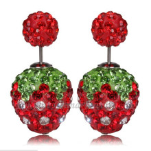 Boucles d'Oreilles Perles Double Strawberry Red Strass 12mm Boucles d'Oreilles Strass Shamballa