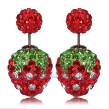 Brincos de cristal duplo morango vermelho brincos strass 12mm strass Shamballa brinco
