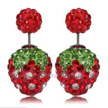 Красный Клубника двойной Кристалл бусины серьги 12 мм горный хрусталь Шамбалы серьги